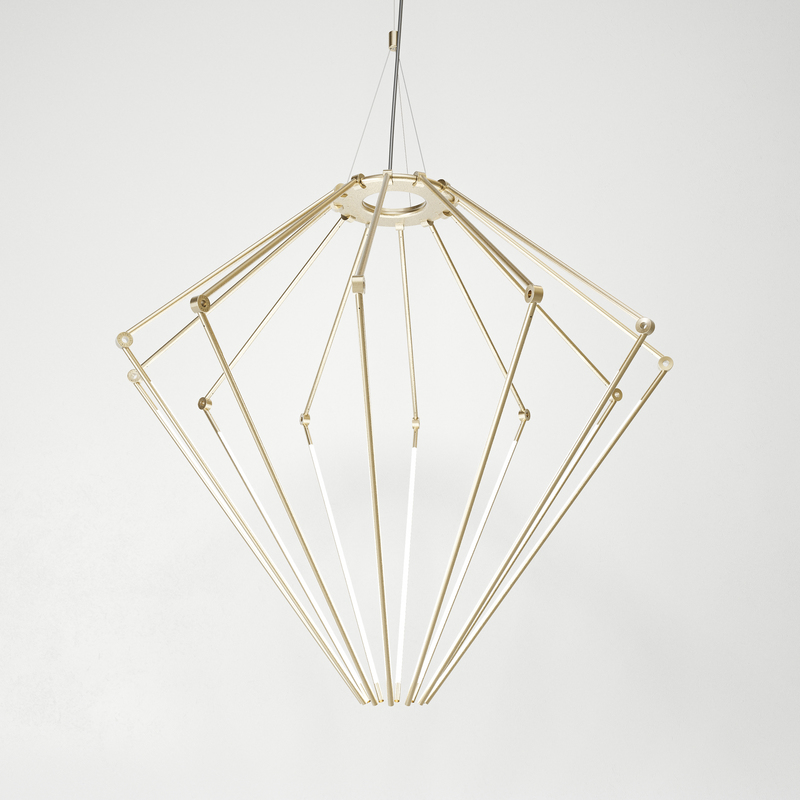 Juniper thin chandelier diamond brass hr