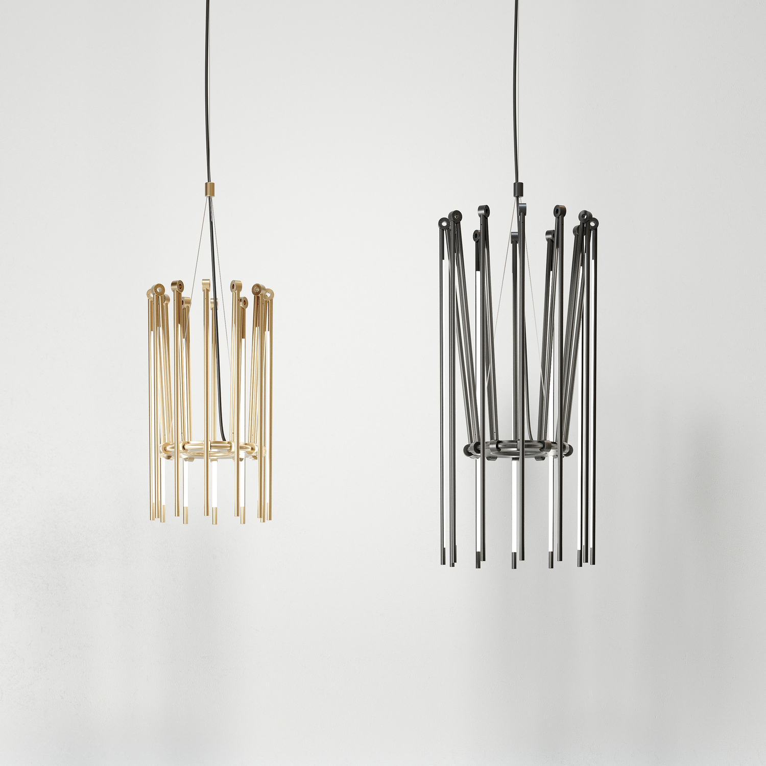 Juniper thin chandelier group brass black oxide hr