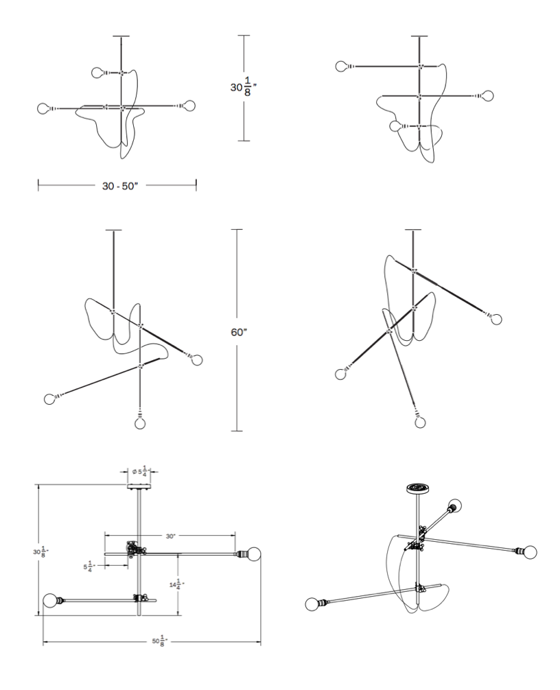 Brass chandelier tech drawings