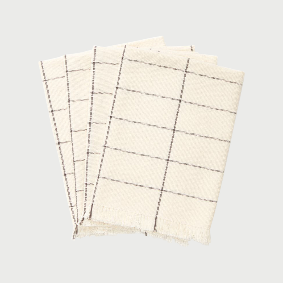 Cream grid napkin