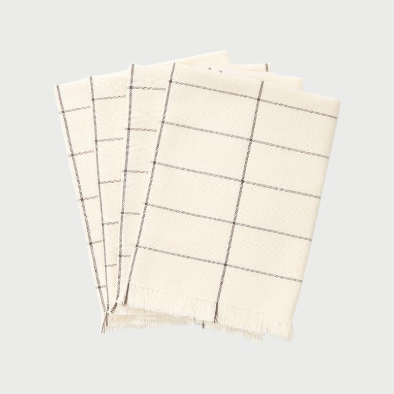 Cream grid napkin