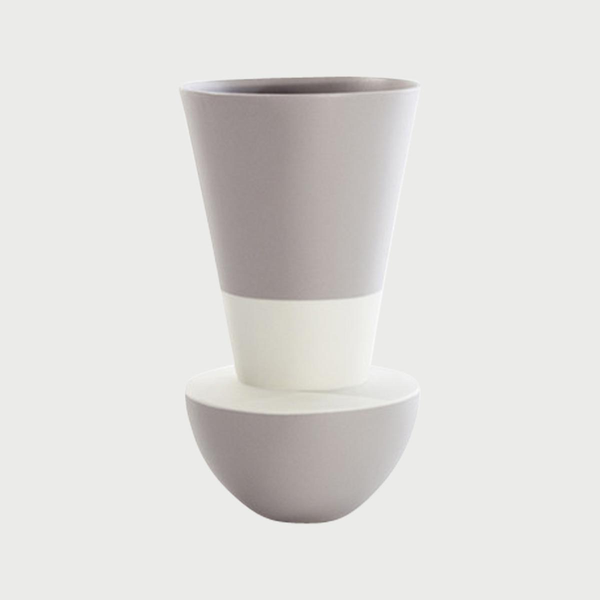 Versa vase up white grey