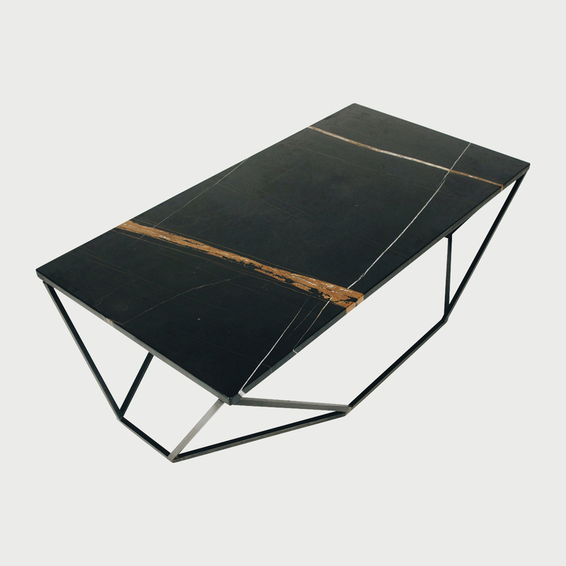 Dusk coffee table black marble blackened steel1