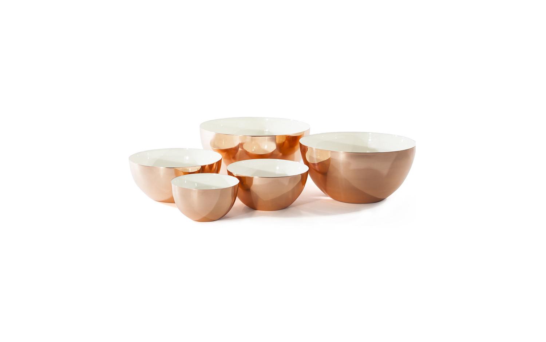 Louise copper bowl family white