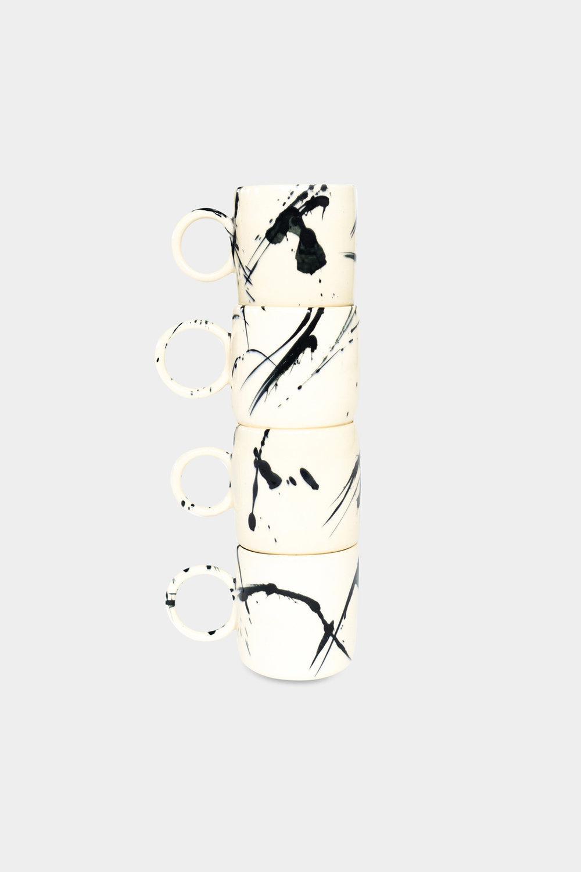 Chris earl black splatter stacked mugs copy