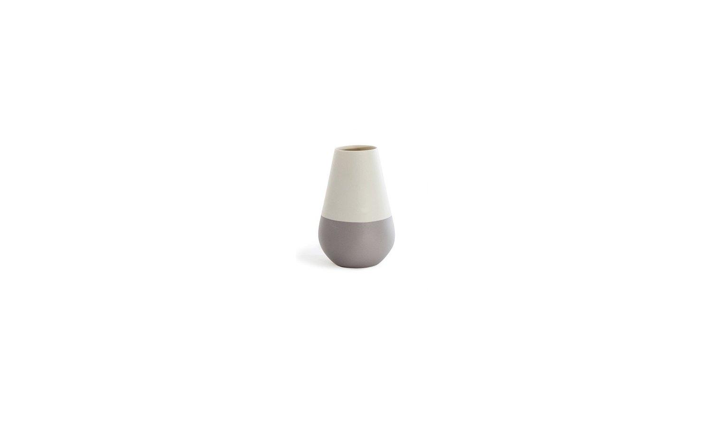 Versa vase drop white grey