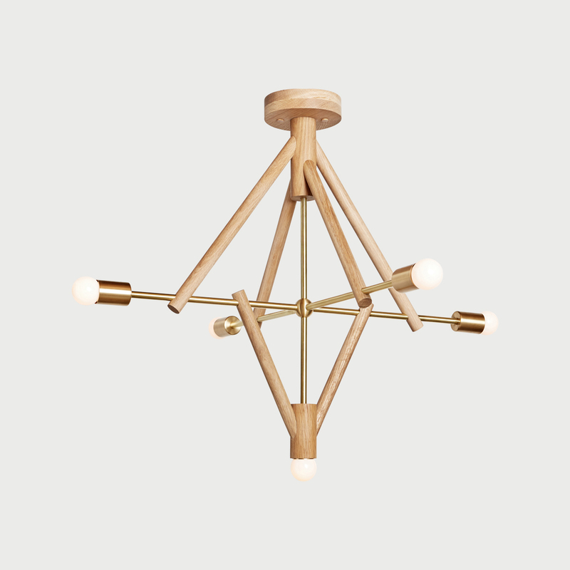 Lodge chandelier five natural white on