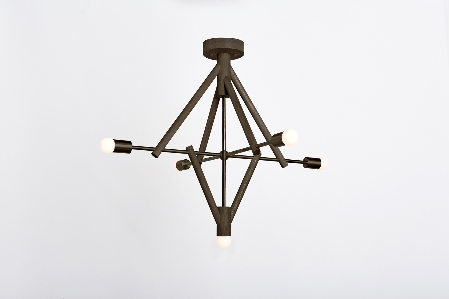 Lodge chandelier five oxidized white on