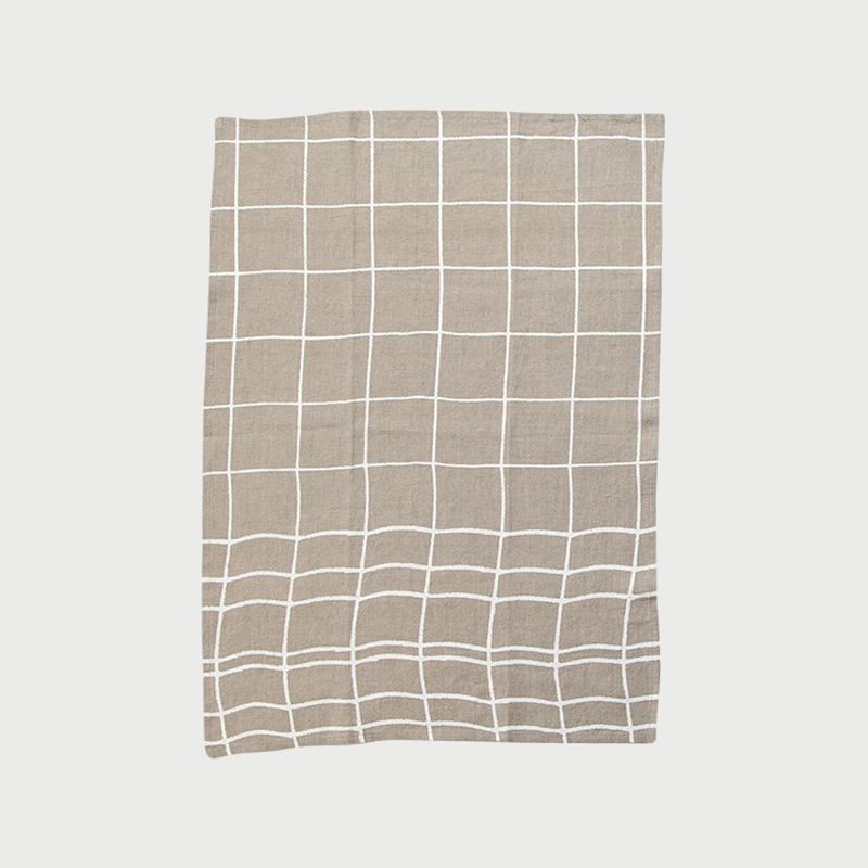 Alyson fox tea towels grid natural
