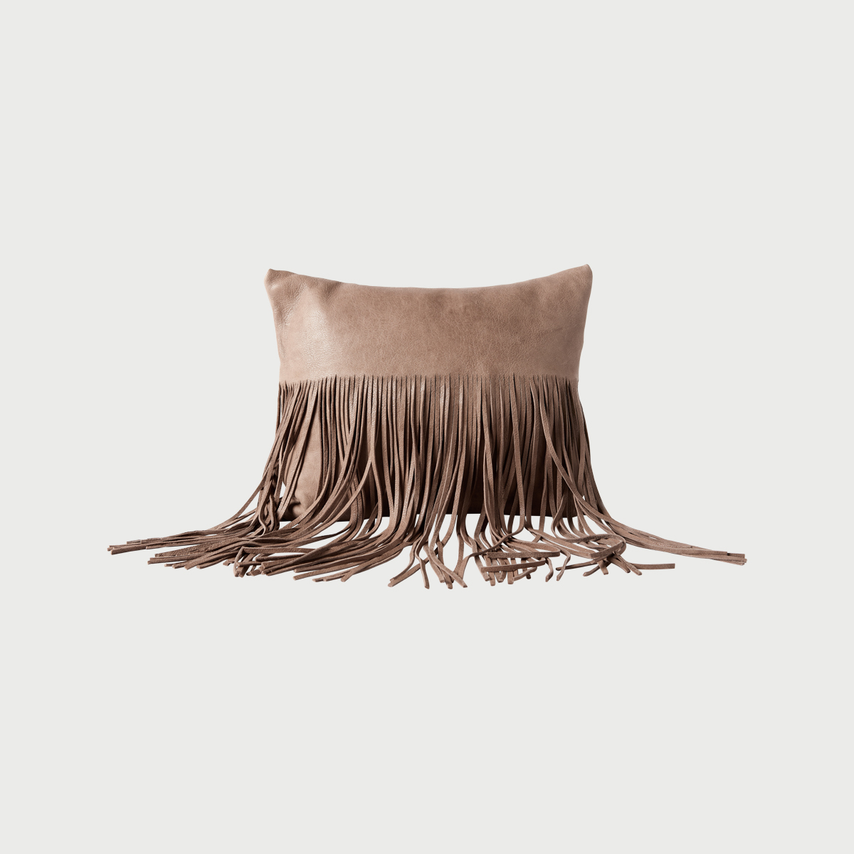 Fringe pillow    taupe pillow