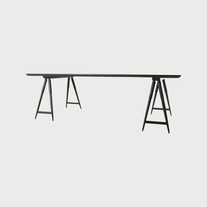 Rockport sawhorse table seasoned black studio dunn