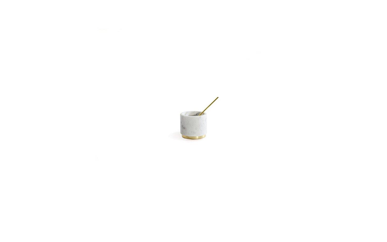 Mara brass sugar pinch pot spoon in