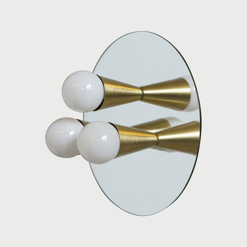 1 echo 3 brass modern mirrored sconce surface flush mount light