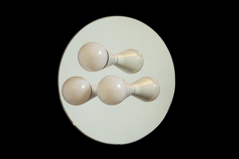 1 echo 3 white modern mirrored sconce surface flush mount light fixture