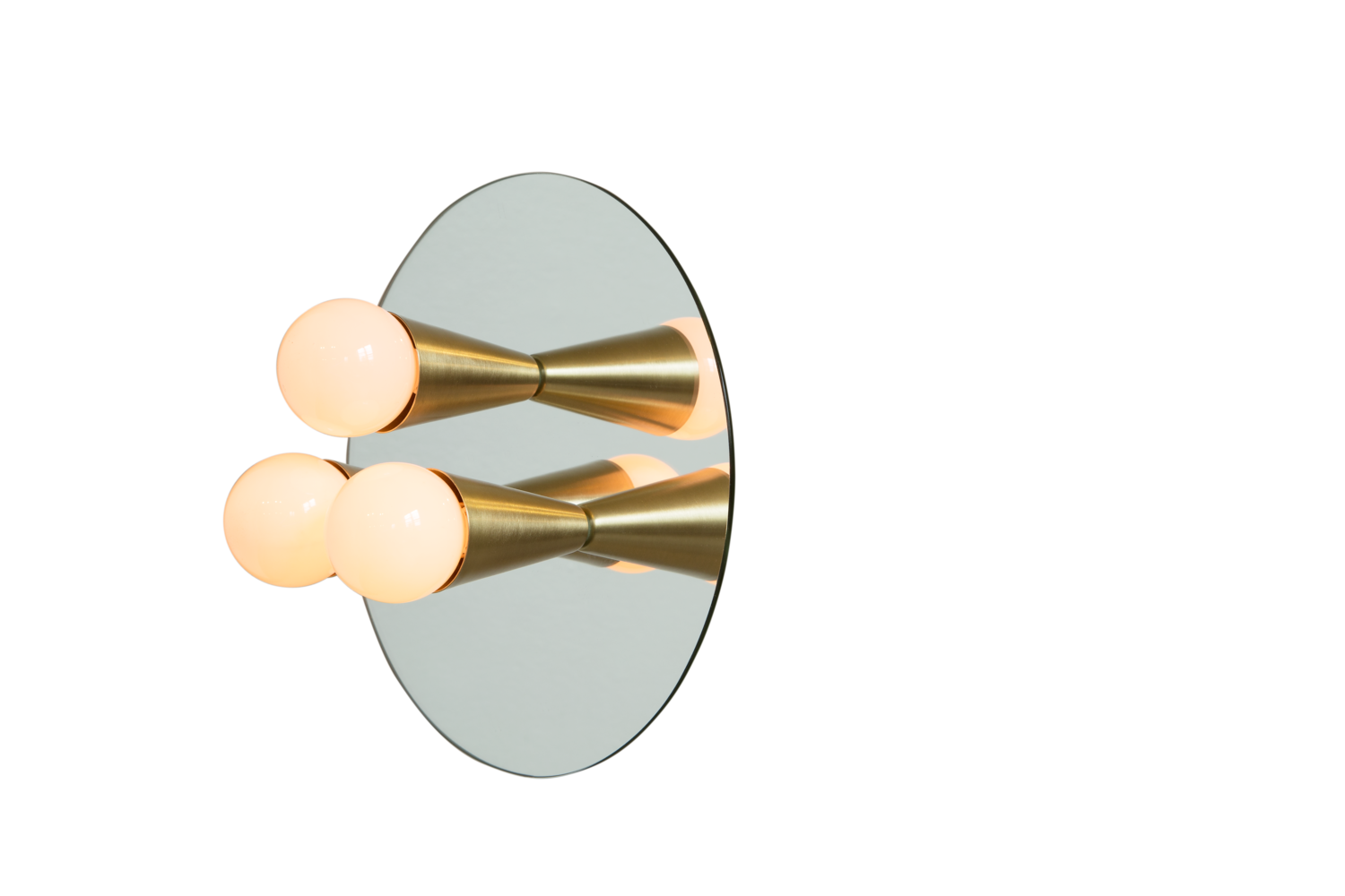 2 echo 3 brass contemporary mirrored sconce surface flush mount