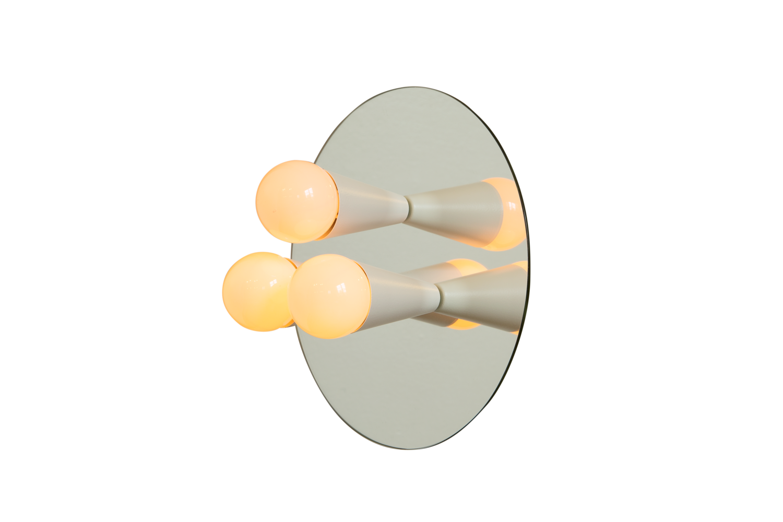 3 echo 3 white modern mirrored sconce surface flush mount lighting