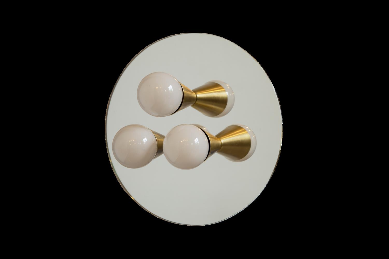 4 echo 3 brass mirrored sconce surface flush mount light fixture
