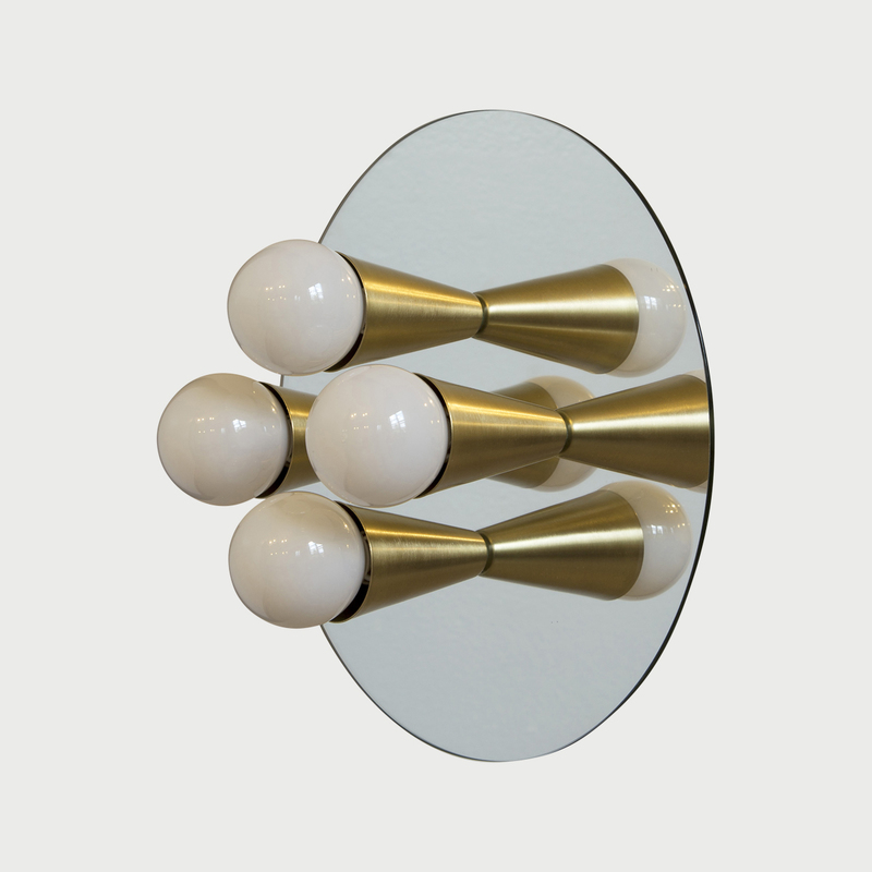 3 echo 4 brass luxury mirrored sconce surface flush mount light fixture