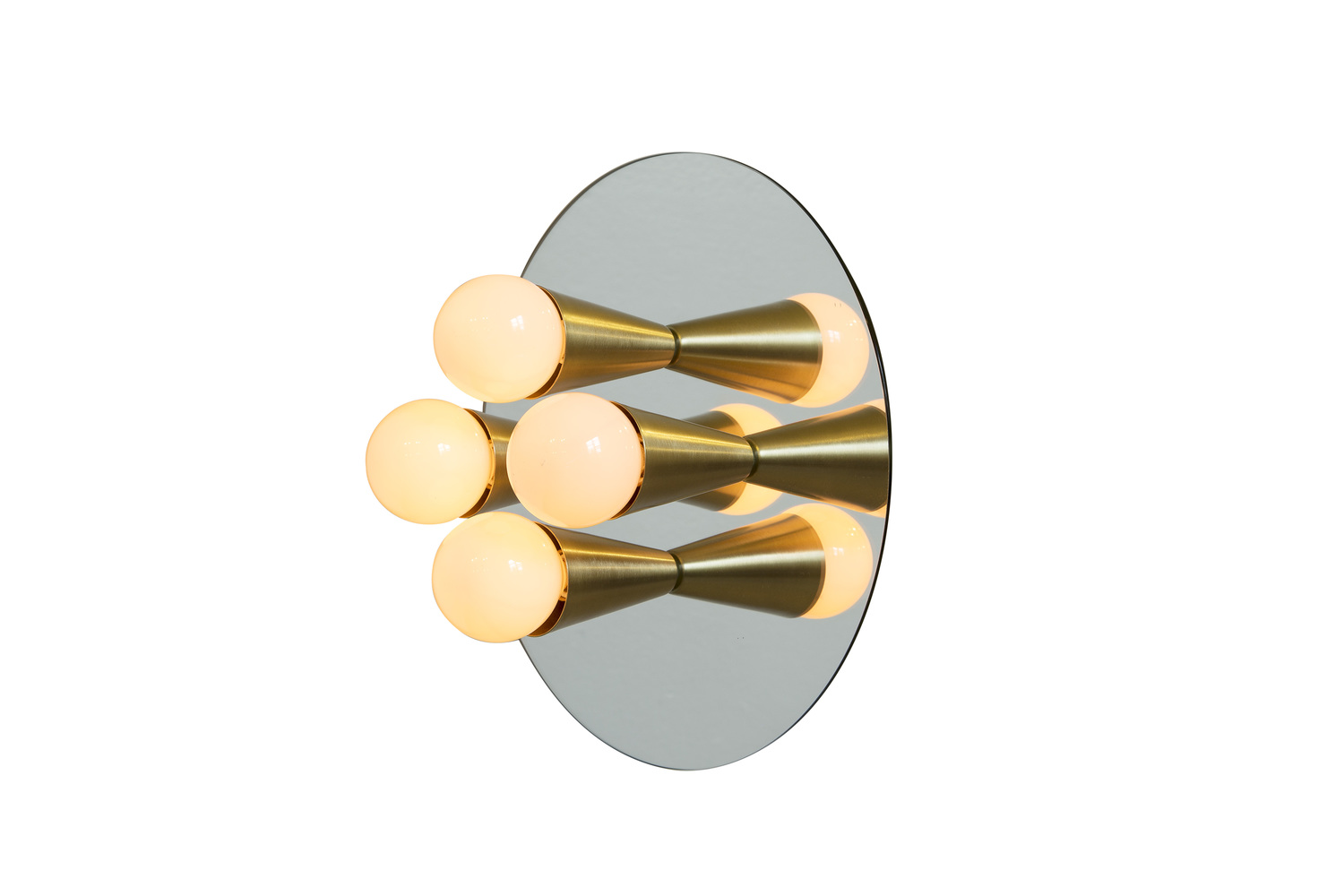 2 echo 4 brass contemporary mirrored sconce surface flush mount wall lamp
