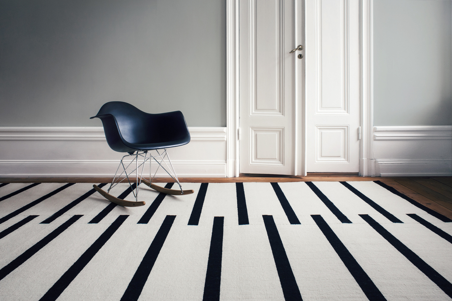 Scandinavian rugs wool tiger white stripes