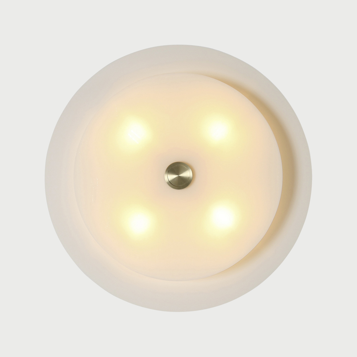Equinox sconce warm white glass country cream steel front view studio dunn
