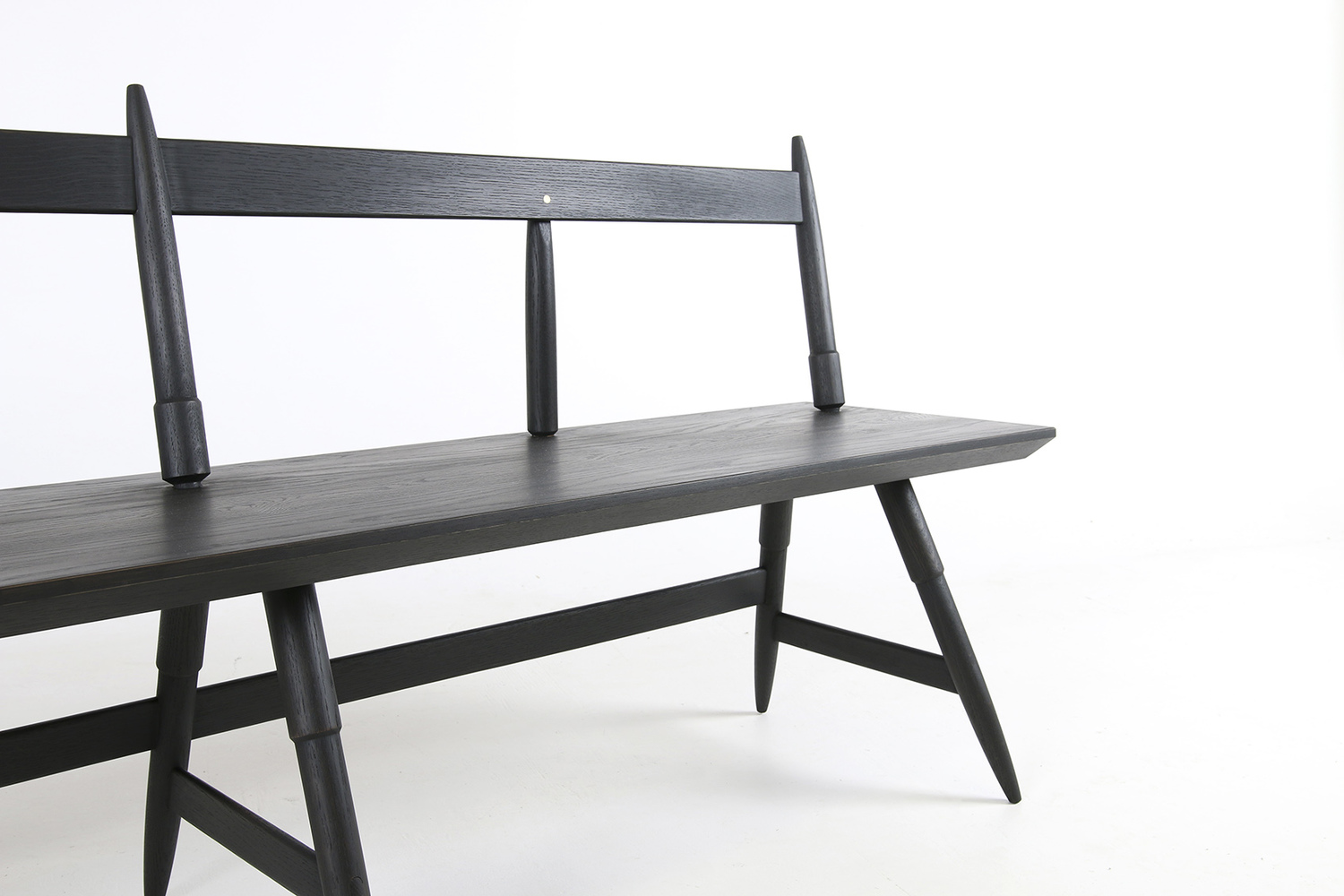 Rockport bench 80 inch width seasoned black half view studio dunn