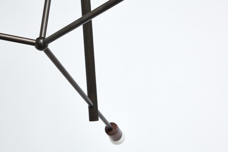 Lodge chandelier three oxidized oak tubing detail