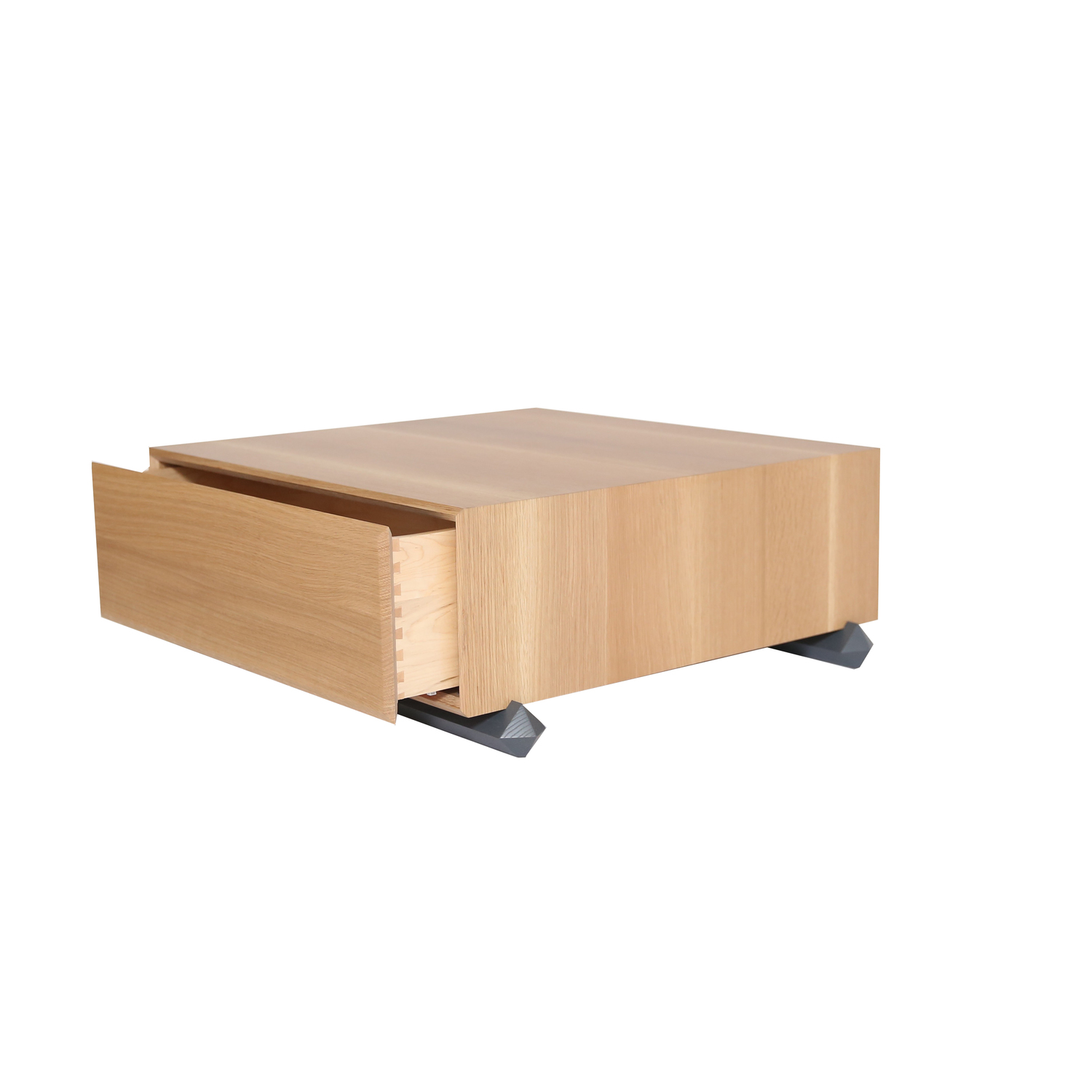 Stack coffee table 3qtr open drawer