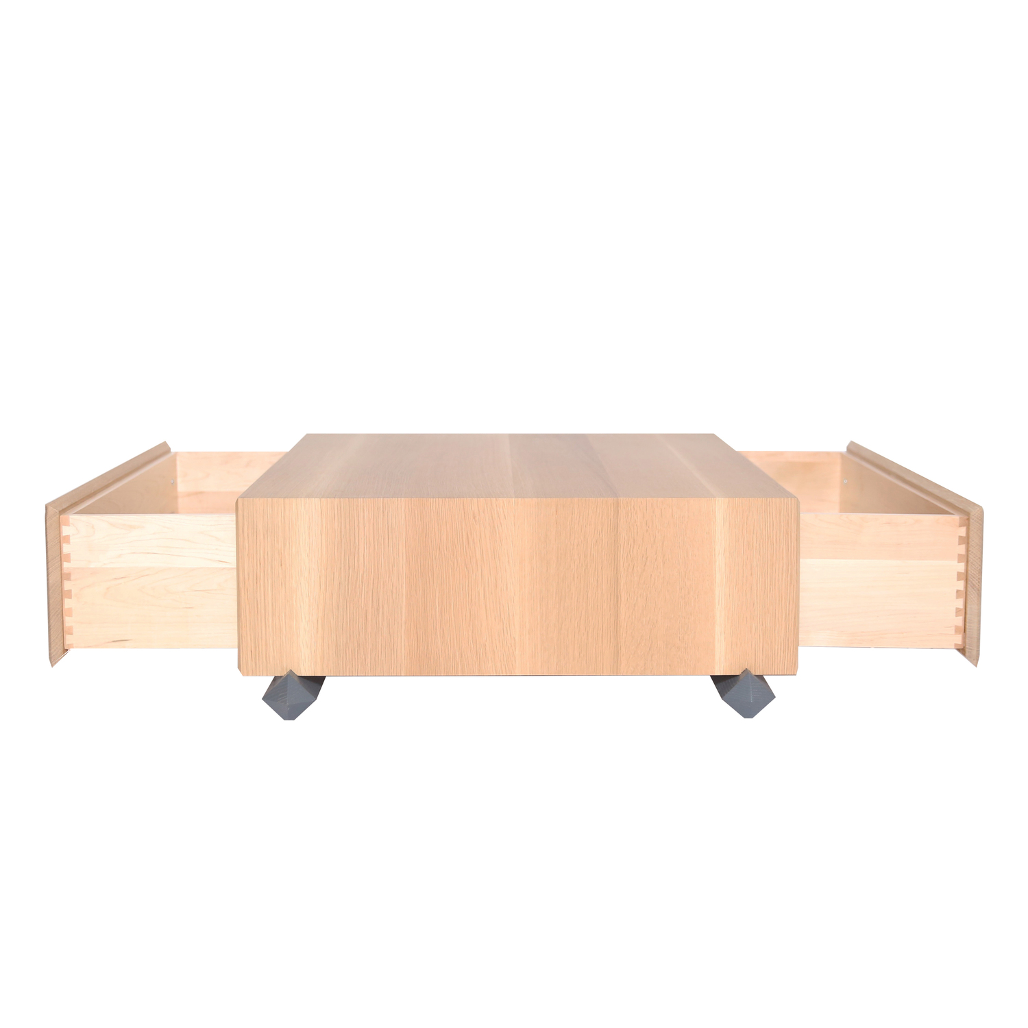 Stack coffee table drawers open