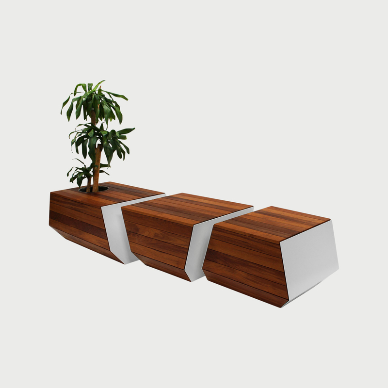 Boxcar bench teak with white