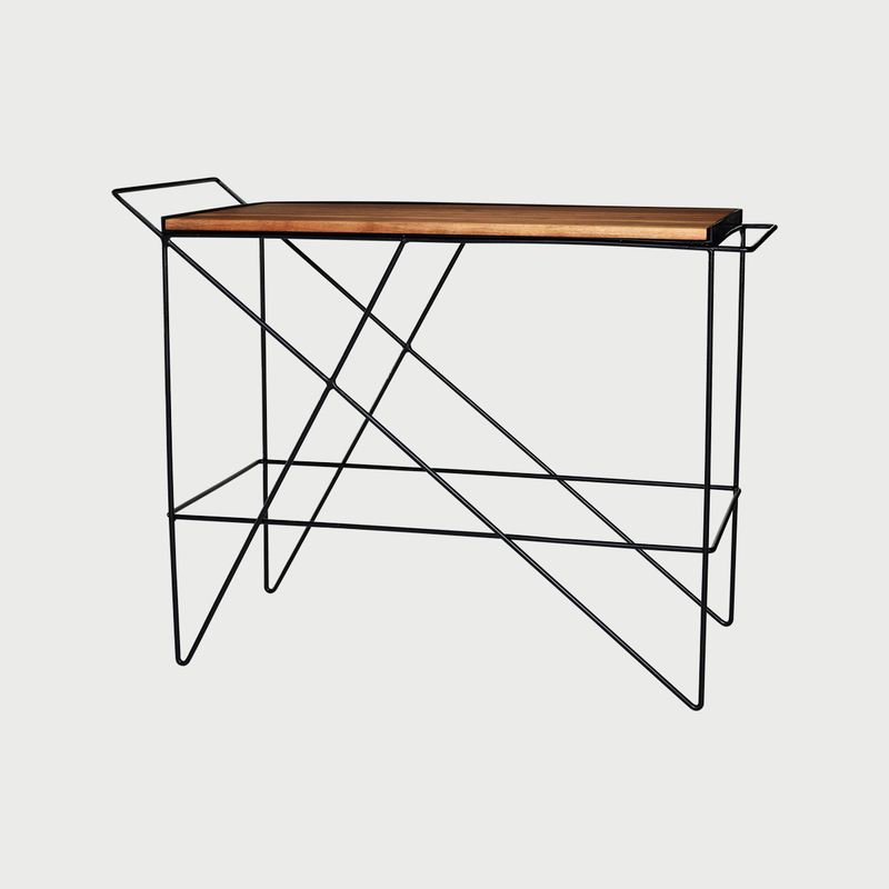 Greta de parry coleman bar cart walnut side