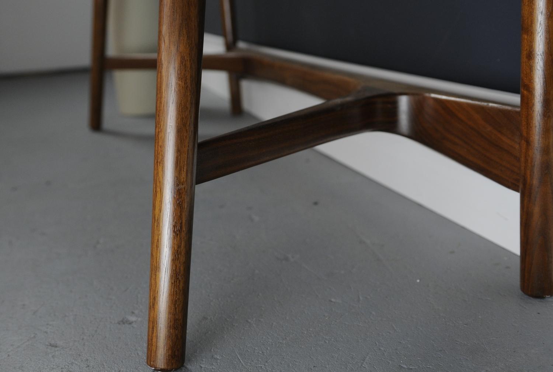 Bristol console table walnut studio dunn stretcher detail