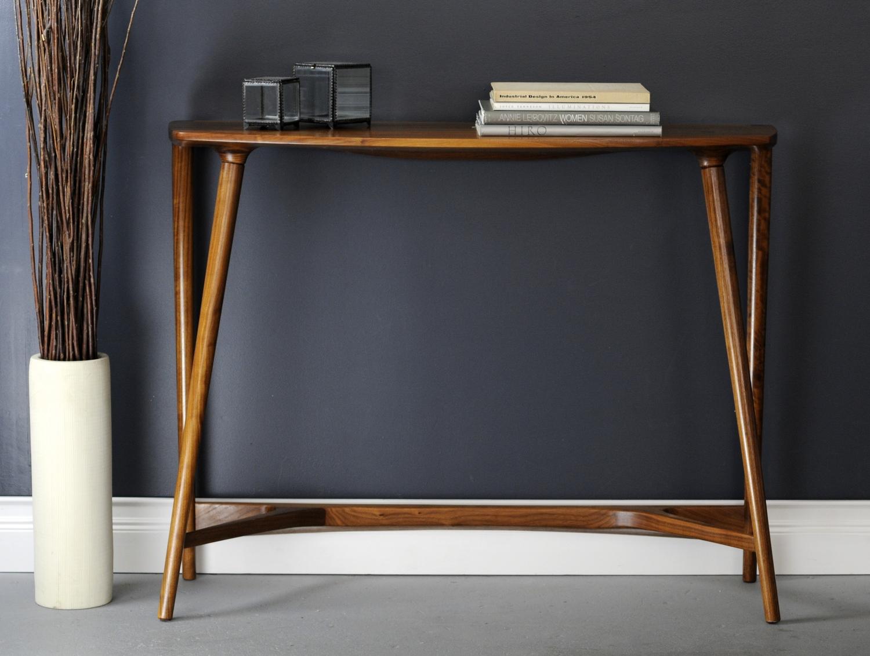 Bristol console table walnut studio dunn grey wall books vase