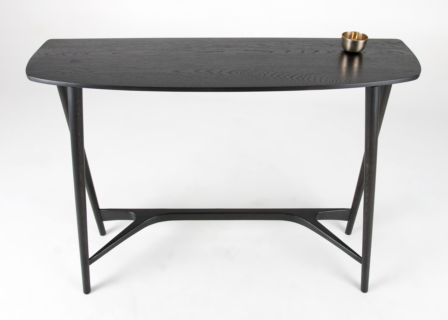 Bristol console table seasoned black top view with silver cup studio dunn