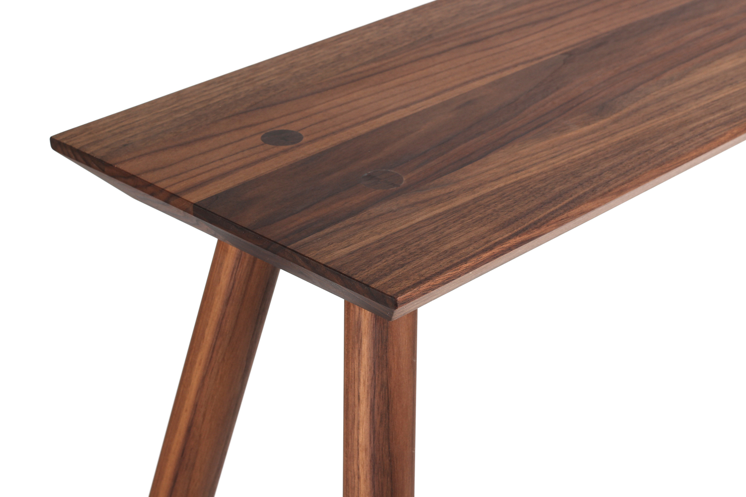 Rockport console table walnut top detail studio dunn